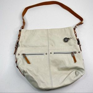 The Sak Leather Tote Bag Cream Brown